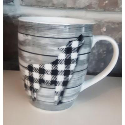 Tasse céramique design bois loup carreaux noirs et blancs