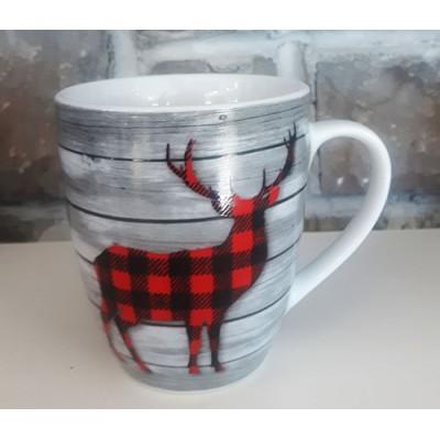 Tasse céramique noire chevreuil carreaux rouges et noirs