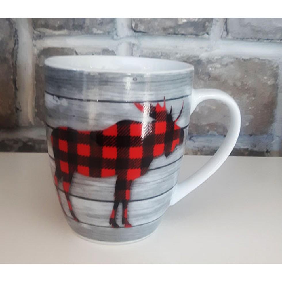 Tasse céramique noire orignal carreaux rouges et noirs