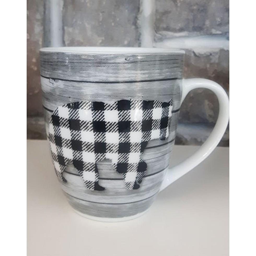Tasse céramique design bois ours carreaux noirs et blancs