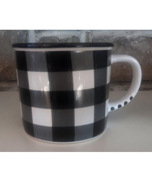 Tasse style vintage céramique carreaux noirs et blancs