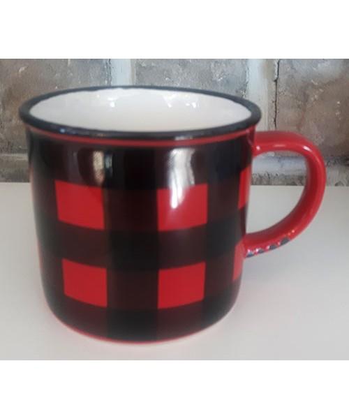 Tasse style vintage céramique carreaux rouges et noirs