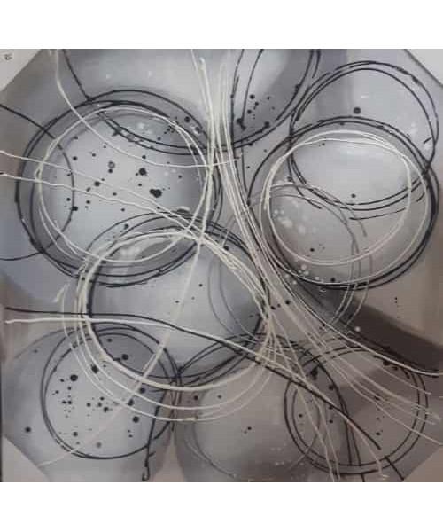 Toile design cercles blanc noir gris