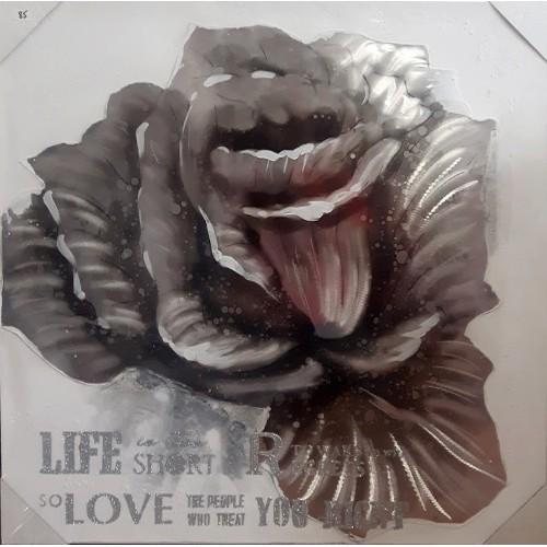 Toile fleur argent