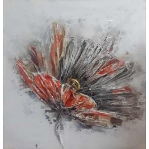 Toile fleur style papier mâché