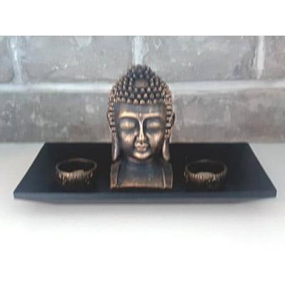 Bouddha avec 2 bougeoirs