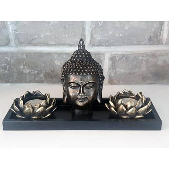 Zen Garden tête Bouddha et bougies